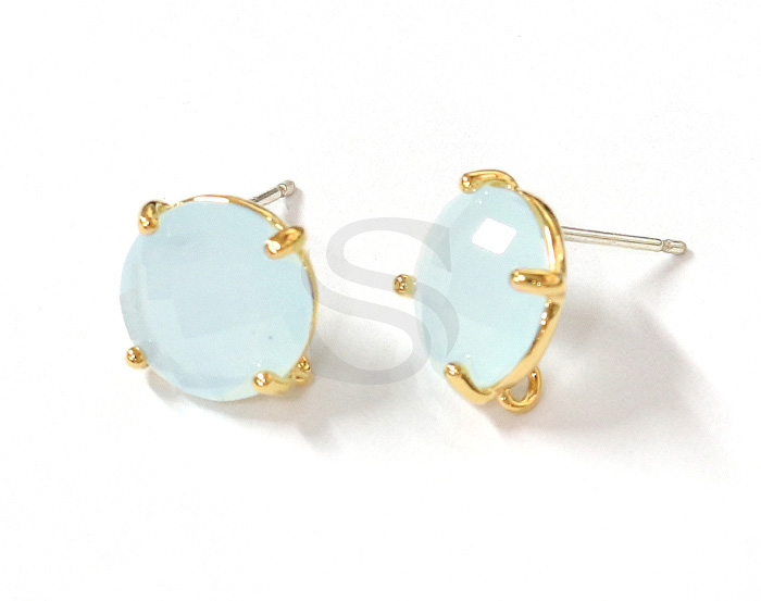 [G0199-E2-GAB] 2 Pcs / Round Glass Earring / Glass / 10mm