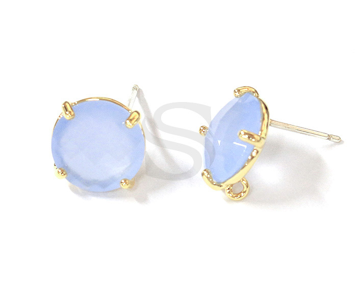 [G0199-E2-GBC] 2 Pcs / Round Glass Earring / Glass / 10mm
