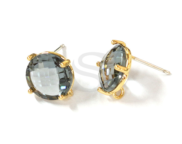 [G0199-E2-GCC] 2 Pcs / Round Glass Earring / Glass / 10mm