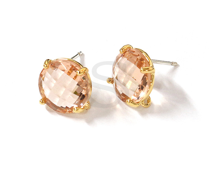 [G0199-E2-GLP] 2 Pcs / Round Glass Earring / Glass / 10mm