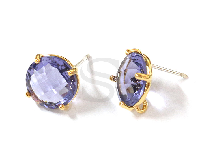 [G0199-E2-GTZ] 2 Pcs / Round Glass Earring / Glass / 10mm