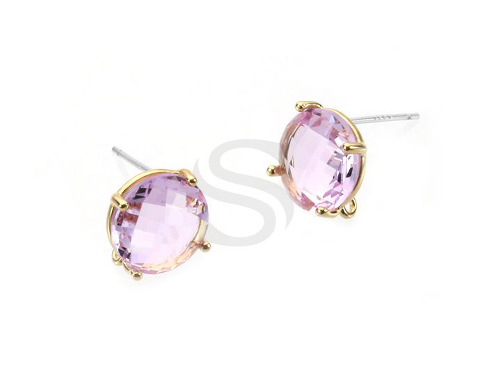 [G0199-E2-GVL] 2 Pcs / Round Glass Earring / Glass / 10mm