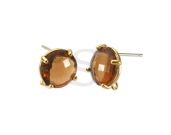 [G0199-E2-GSQ] 2 Pcs / Round Glass Earring / Glass / 10mm