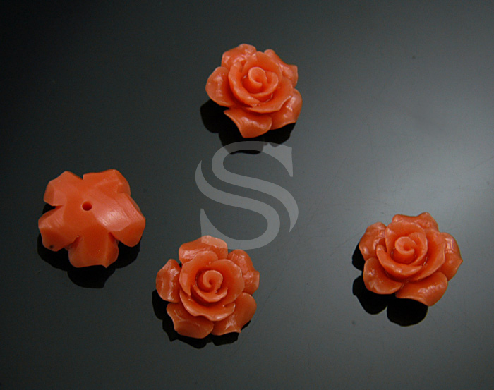 [G0037-2-AP] 4 Pcs / Delicate, Romantic Apricot Rose Bead / Polyresin / 12.6mm
