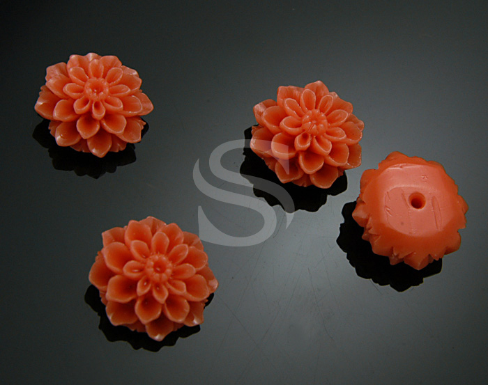 [G0039-AP] 4 Pcs / Delicate, Romantic Apricot Chrysanthemum Bead / Polyresin / 14.7mm