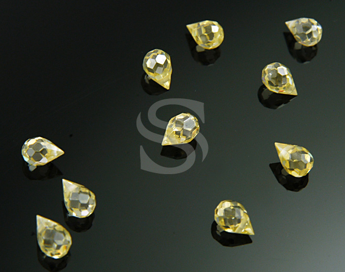 [G0031-1-JQ] 10 Pcs / Faceted Teardrop Shape Jonquil / Cubic Ziconia / 4mmx6mm