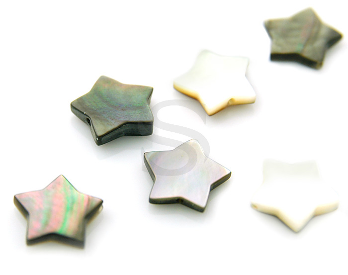 [G0050-2-BL] 6 Pcs / Cute Star Mother of Pearl Bead / Mother of Pearl / 9.5mm x 2mm