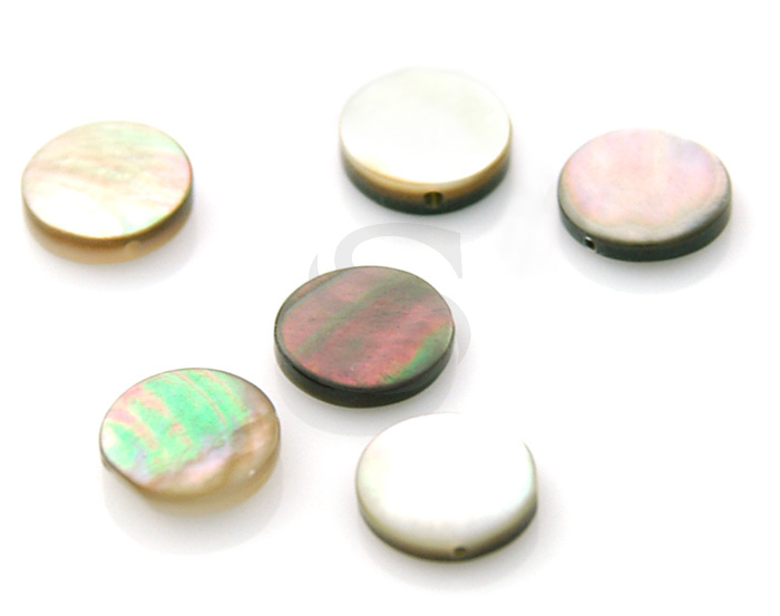 [G0052-BL] 6 Pcs / Black Mother of Pearl Circle Bead / Mother of Pearl / 8mm x 2mm