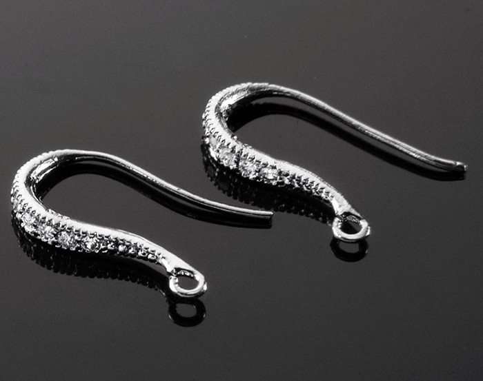 [H0007S-H-RF] 4 Pcs / Cubic Zirconia Detailed French Hook Earwires with Elegant Curves Ver. 1 / 925 Sterling Silver