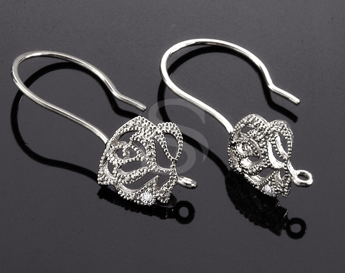 [H0015-H-RF] 4 Pcs / Full Bloomed Lovely Rose Hoop Earring / Brass / 9mm x 21mm