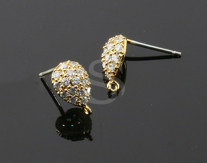 [H0019-E-GCR] 2 Pcs / Puffed Teardrop Stud Earring / CZ / 7mm x 10.5mm