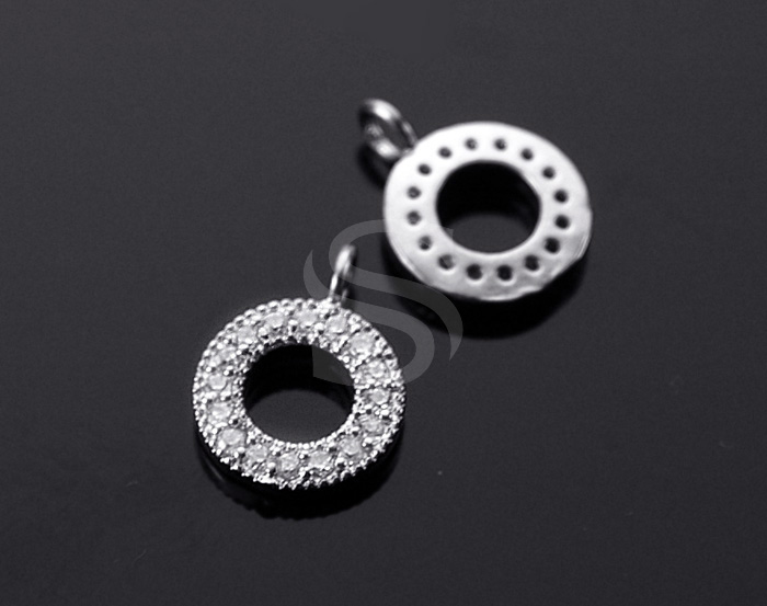 [H0021-P-ATSSCR] 2 Pcs / Mini Circle Pendant / Cubic Zirconia / 9.7mm x 13mm