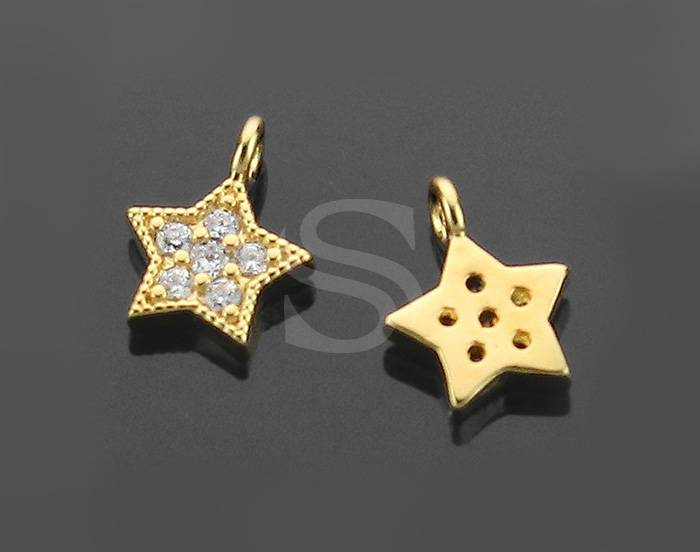 [H0116-P2-GCR] 2 Pcs / Star Charm / Brass / 8.7mm x 6.8mm