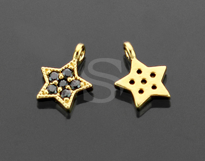 [H0116-P2-GJT] 2 Pcs / Star Charm / Brass / 8.7mm x 6.8mm