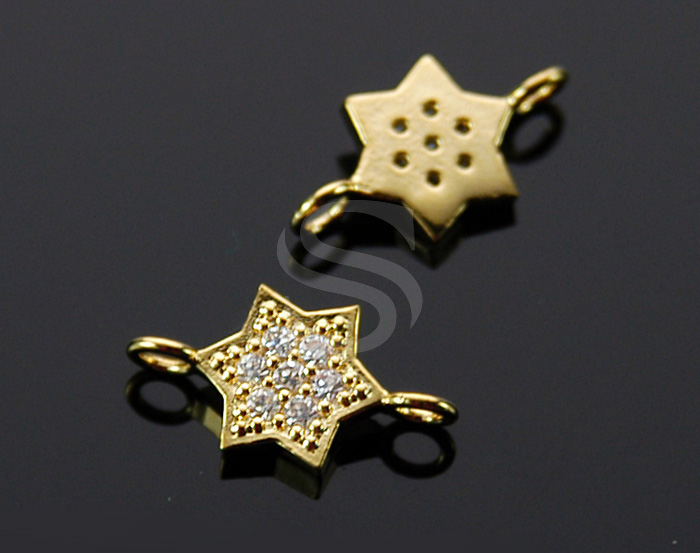 [H0323-C2-GCR] 2 Pcs / Delicate Cubic Zirconia Star Connector / Brass / 8mm x 15mm