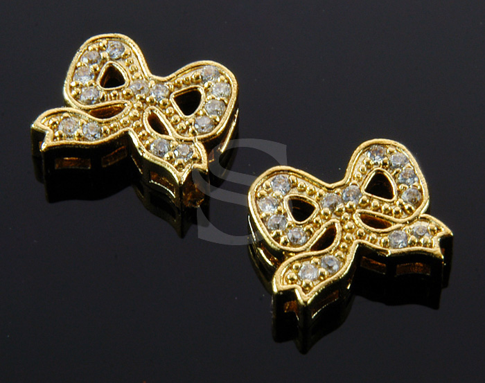 [H0324-C-GCR] 2 Pcs / Delicate Cubic Zirconia Ribbon Connector / Brass / 12mm x 10.3mm