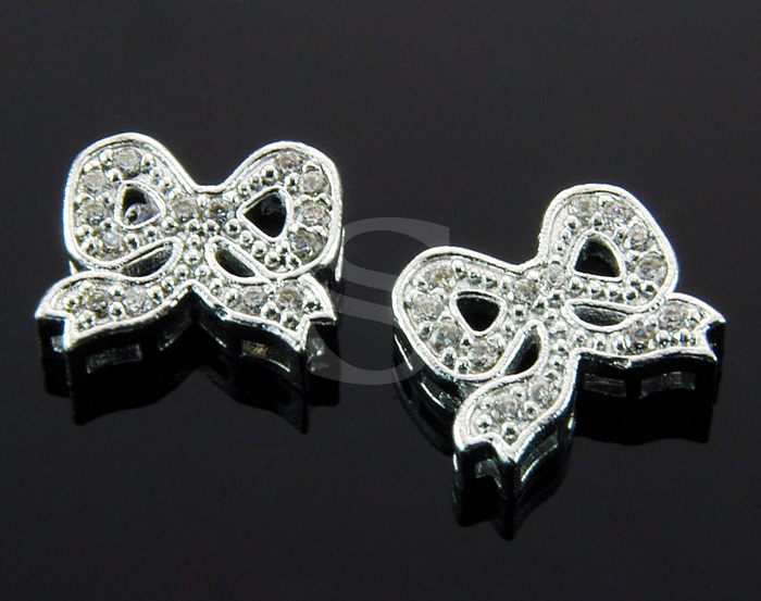 [H0324-C-RFCR] 2 Pcs / Delicate Cubic Zirconia Ribbon Connector / Brass / 12mm x 10.3mm