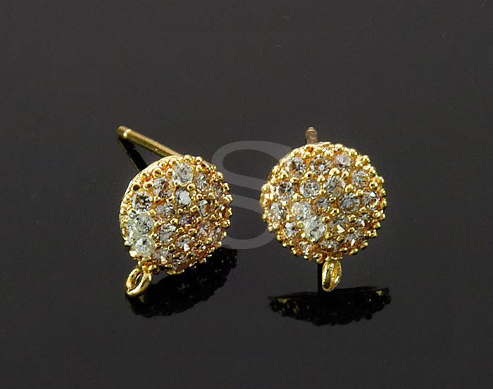[H0332-E-GCR] 2 Pcs / Cubic Zirconia Detailed Earring / Brass / 8.4mm x 10.2mm