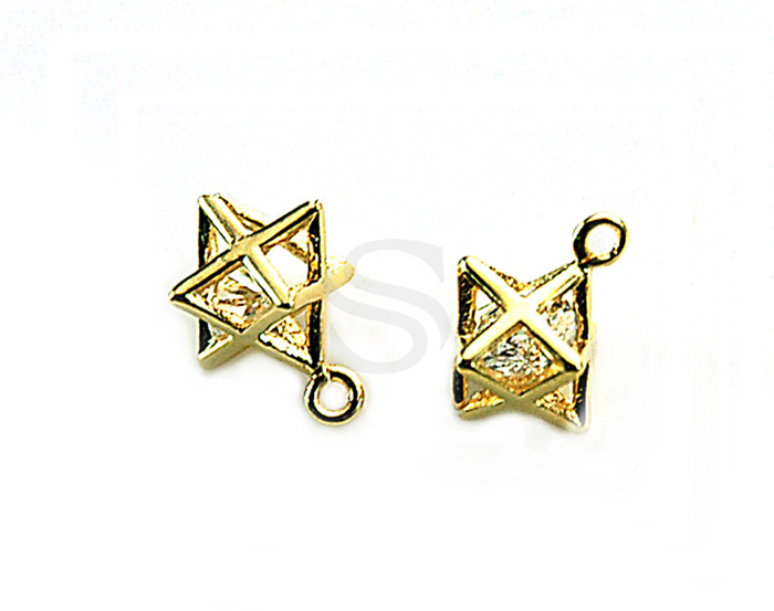 [H0337-P-GCR] 4 Pcs / Star With Cubic Zirconia Charm / Brass / 12.5mm x 8.6mm