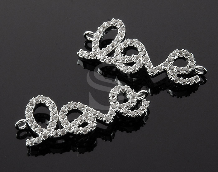 [H0386-C2-ATSSCR] 1 Pcs / Delicate Cubic Zirconia Detailed 'Love' Connector / Brass / 27mm x 10.7mm