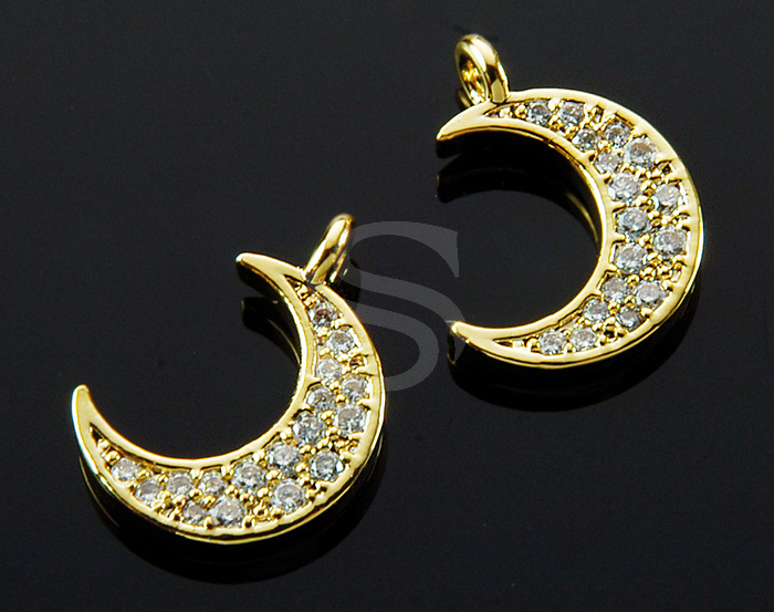 [H0408-P-GCR] 1 Pcs / Crescent Moon Pendant / Brass / 12mm x 16mm