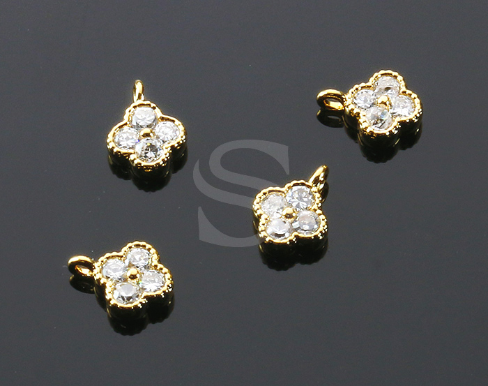 [H0414-P-G] 4Pcs / Four Petals Flower Charm / Brass / 6mm x 7.5mm