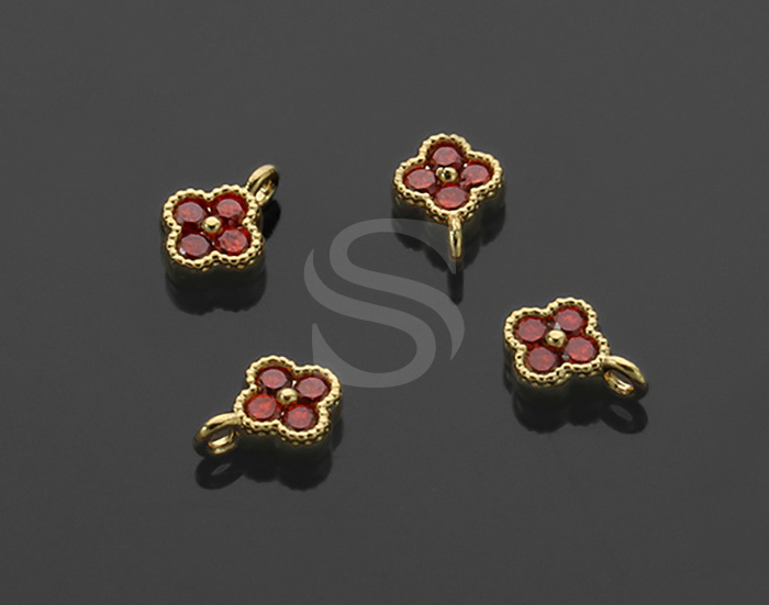 [H0414-P1-GLGN] 4Pcs / Four Petals Flower Charm / Brass / 6mm x 7.5mm