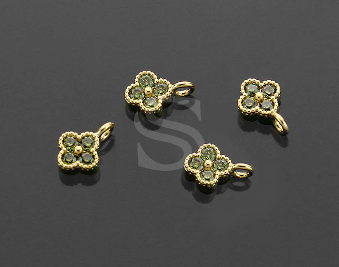 [H0414-P1-GOV] 4Pcs / Four Petals Flower Charm / Brass / 6mm x 7.5mm