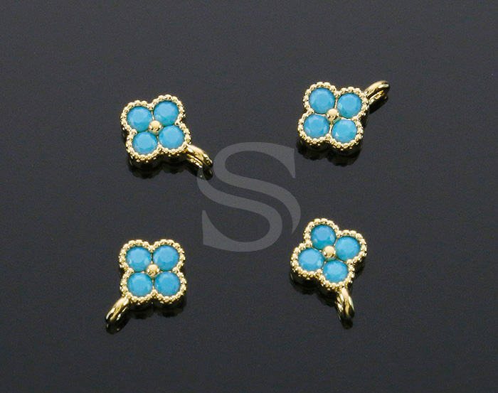 [H0414-P1-GTQ] 4Pcs / Four Petals Flower Charm / Brass / 6mm x 7.5mm