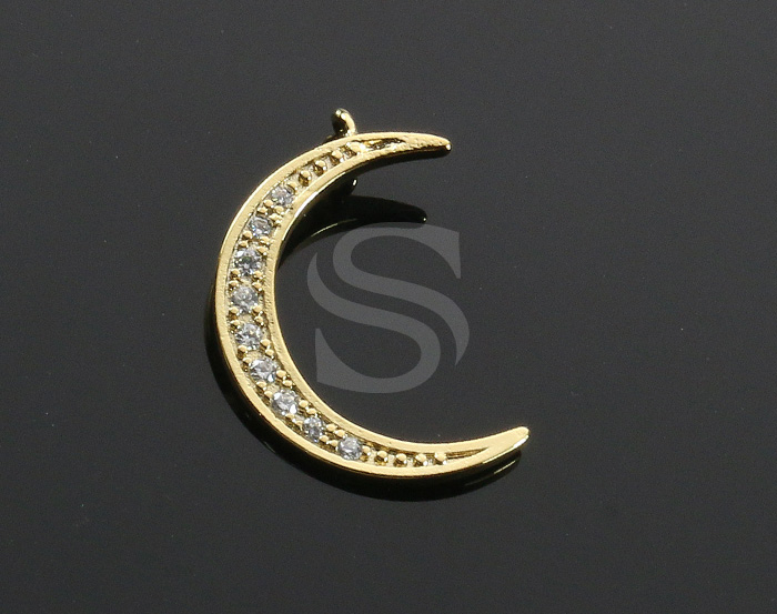 [H0422-P-GCR] 2 Pcs / CZ Detailed Crescent Moon Pendant / Brass / 15mm x 22mm