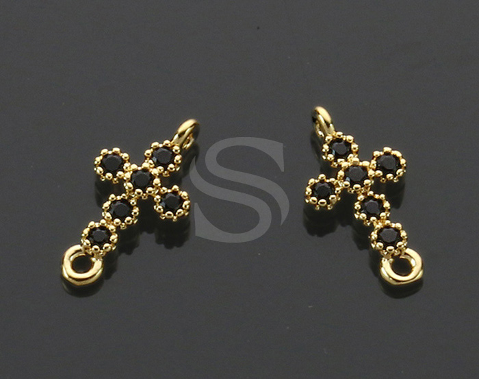 [H0424-C-GJT] 4 Pcs / Cross Charm Connectors / Brass / 6.2mm x 12.6mm