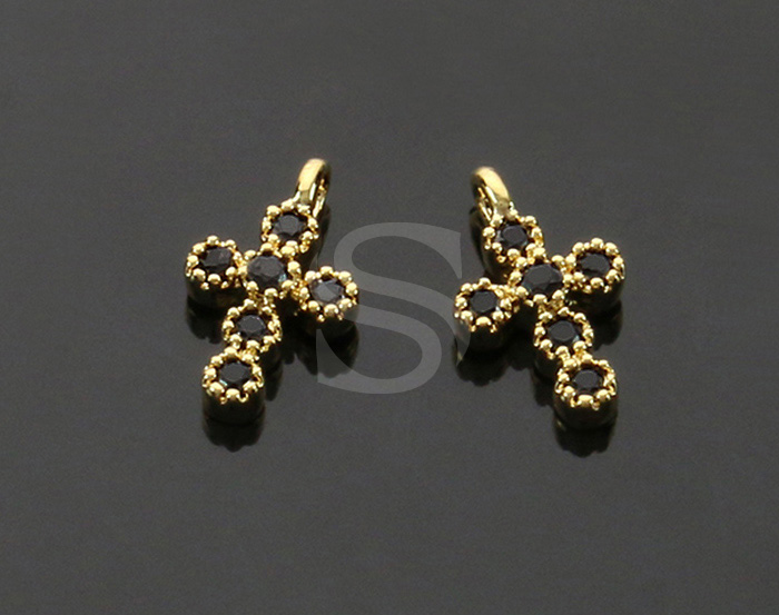 [H0424-P1-GJT] 4 Pcs / Cross Charm Pendants / Brass / 6.2mm x 10.4mm