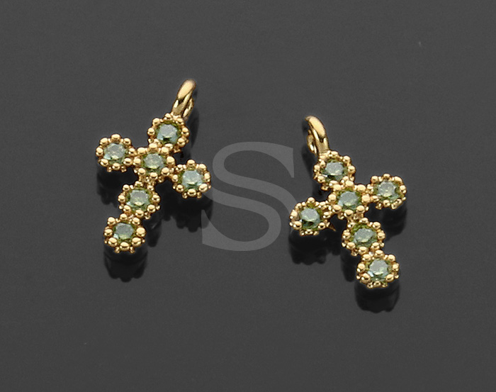 [H0424-P1-GOV] 4 Pcs / Cross Charm Pendants / Brass / 6.2mm x 10.4mm