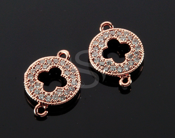 [H0429-C-RGCR] 2 Pcs / Delicate Cubic Zirconia Detailed Clover Connector / Brass / 9.7mm x 12.5mm