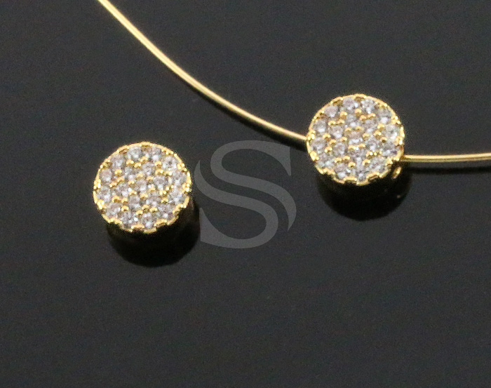 [H0443-C-GCR] 1 Pcs / Cubic Zirconia Detailed Round Bead Connector / Brass / 6.7mm