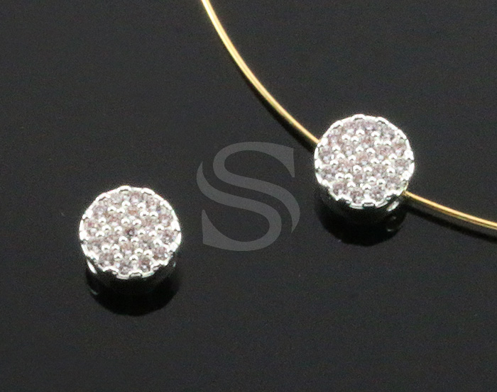 [H0443-C-ATSSCR] 1 Pcs / Cubic Zirconia Detailed Round Bead Connector / Brass / 6.7mm