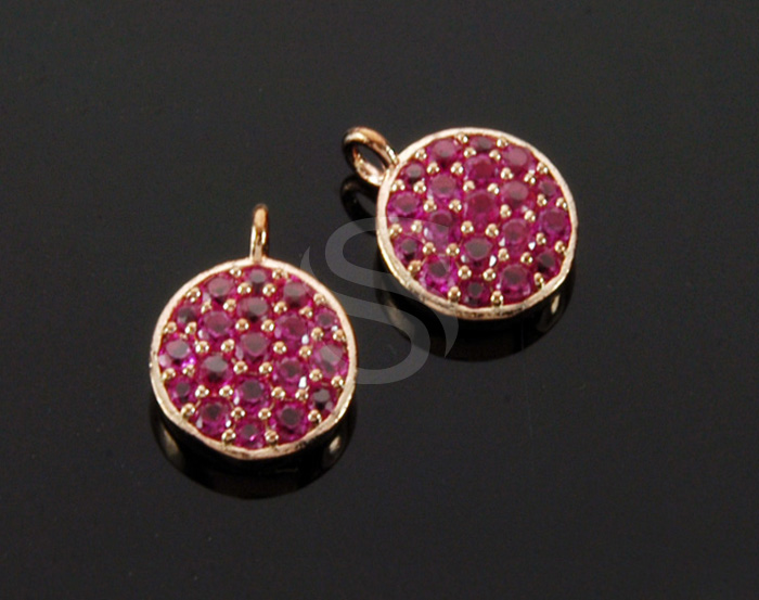[H0446-P-RGRR] 1 Pcs / Delicate Cubic Zirconia Detailed Round Pendant / Brass / 9mm x 11mm