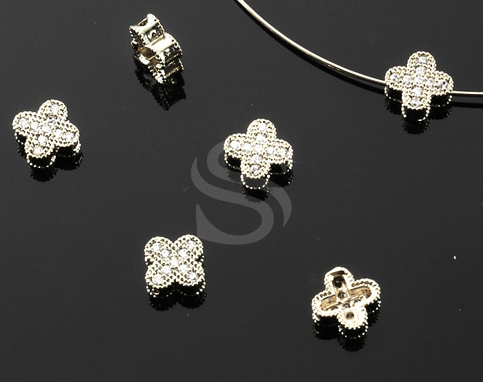 [H0472-C-ATSS] 2 Pcs / Four Petals Flower Beads / Brass / 65mm