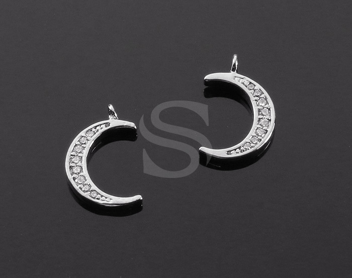 [H0537-P-RF] 2 Pcs / CZ Detailed Crescent Moon Charm Pendant / Brass / 9mm x 14mm