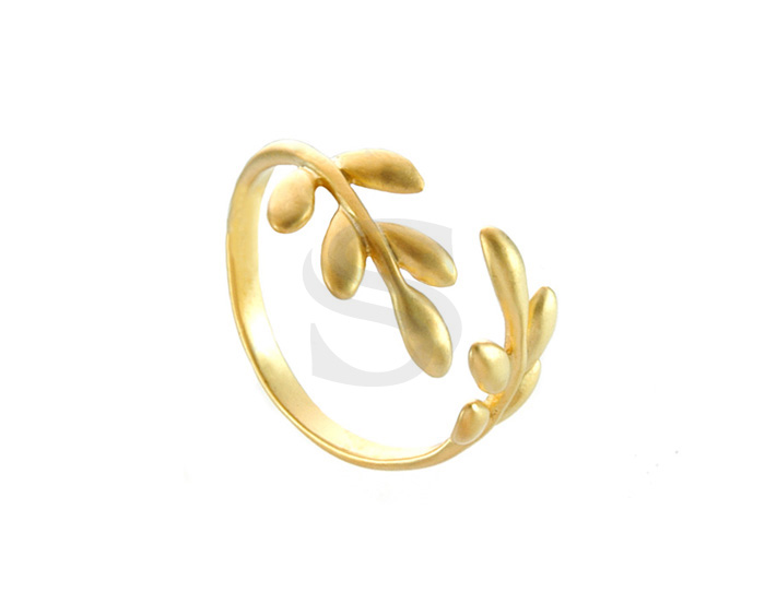 [R0001-MG] 1 Pcs / Branch With Leaves Adjustable Ring / Brass