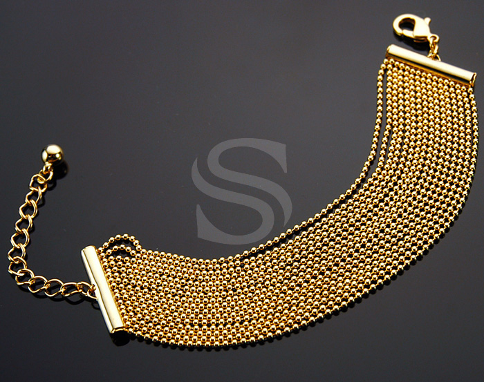 [R0034-G] 1 Pcs / Small Beaded Chain Bracelet / Brass / 140mm x 25mm