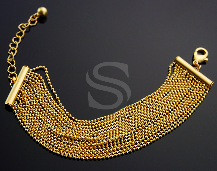 [R0034-MG] 1 Pcs / Small Beaded Chain Bracelet / Brass / 140mm x 25mm
