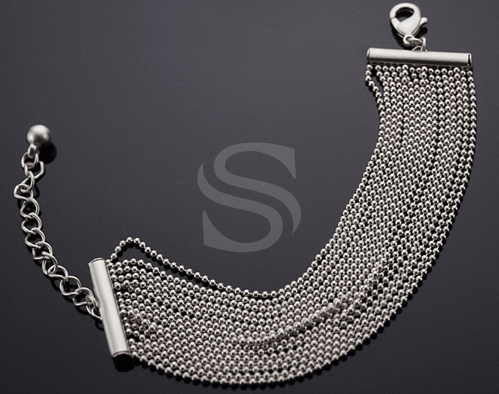 [R0034-MS] 1 Pcs / Small Beaded Chain Bracelet / Brass / 140mm x 25mm