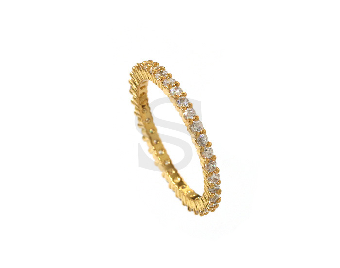 [R0036-51-GCR] 1 Pcs / Delicate Cubic Zirconia Ring / Brass / EU:51 , US:5 3/4, 16.24mm