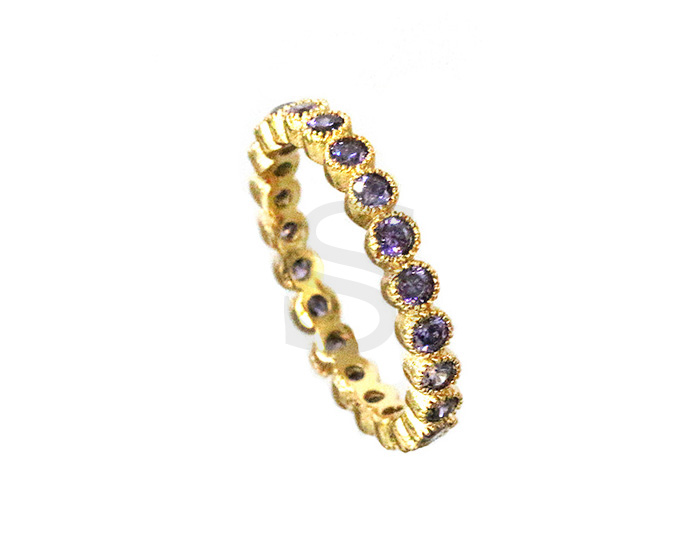 [R0037-57-GPU] 1 Pcs / Delicate Cubic Zirconia Ring / Brass / EU:57 , US:8, 18.15mm