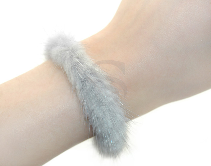 [R0040-GR] 1 Pcs / Genuine Mink Fur Bracelet / 92.5% Sterling Silver / 170mm