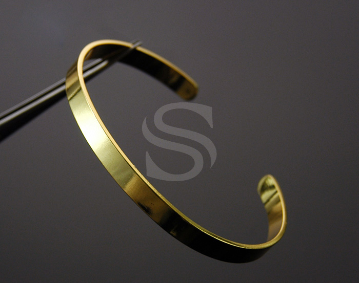 [R0055-G] 1 Pcs / Adjustable Bangle / Brass / 66mm x 54mm