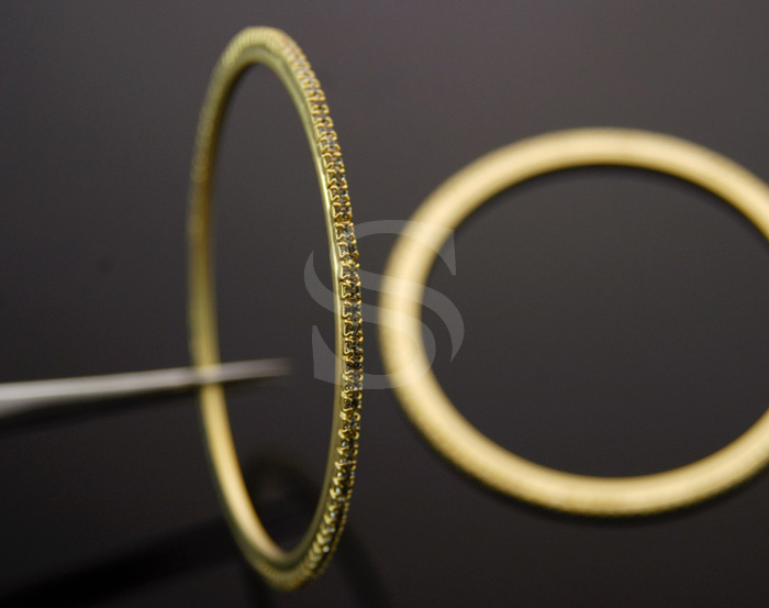 [R0068-MG] 1 Pcs / Delicate Cubic Zirconia Bangle / Brass / 74mm
