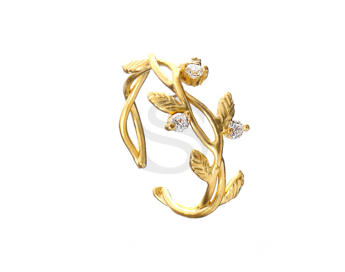 [R0071-MG] 1 Pcs / CZ Detailed Branch With Leaves Adjustable Ring / Brass / 9mm