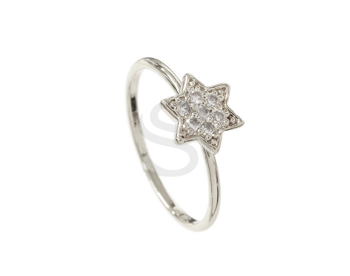 [R0084-51-ATSS] 1 Pcs / Delicate Cubic Zirconia Star Ring / Brass / EU:51 , US:5 3/4, 16.24mm